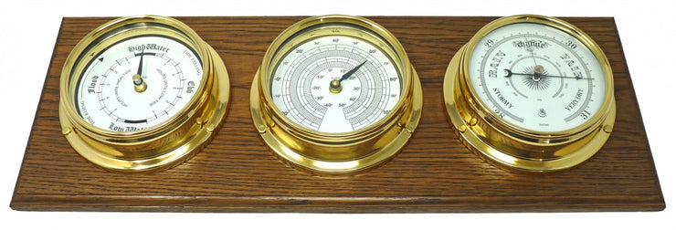 Handmade Brass Tide Clock, Barometer and Thermometer Mounted On An English Oak Wall Mount
