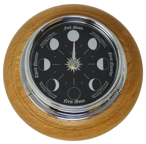 Handmade Prestige Moon Phase Clock in Chrome on an English Oak mount
