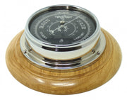 Handmade Prestige Barometer in Chrome with Jet Black Dial Mounted on an English Oak Wall Mount