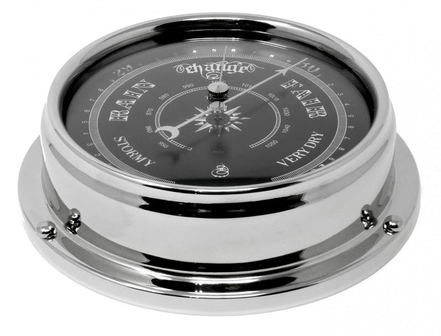 Handmade Prestige Traditional Barometer in Chrome with a Jet Black Dial created with a mirrored backdrop