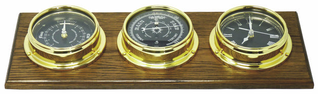 Handmade Prestige Brass Tide Clock, Traditional Barometer and Roman Clock with Jet Black Dial Mounted on a Solid English Oak Mount