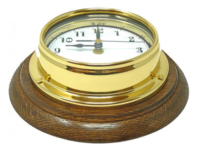Handmade Solid Brass Arabic Clock Mounted on an English Oak Mount