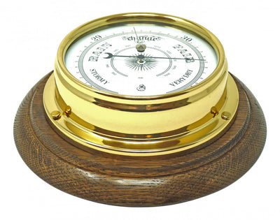 Handmade Solid Brass Traditional Barometer Mounted on an English Oak Wall Mount
