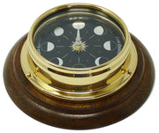 Prestige Brass Moon Phase Clock With a Jet Black Dial Mounted on a Solid English Oak Wall Mount