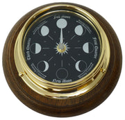 Prestige Brass Moon Phase Clock With a Jet Black Dial Mounted on a Solid English Oak Mount