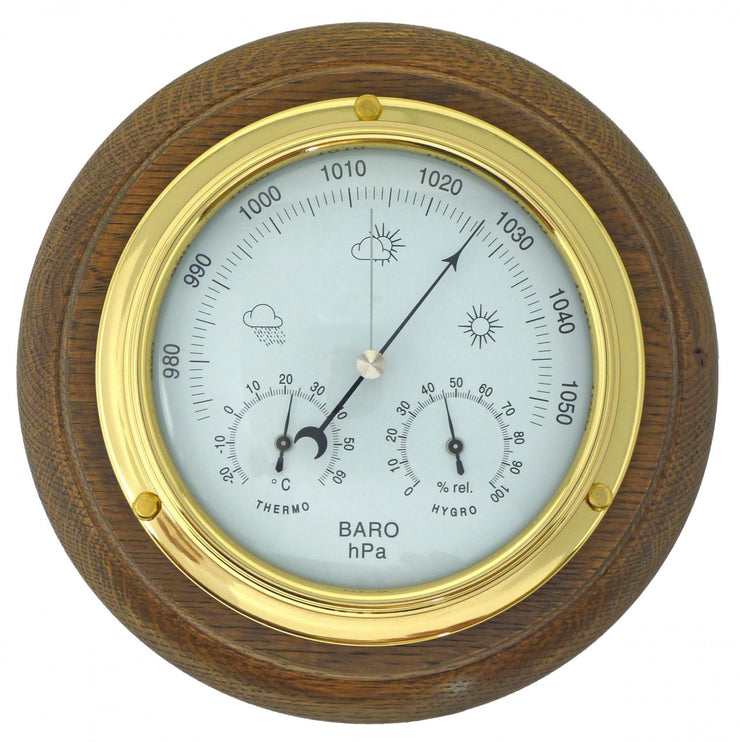 Handmade Solid Brass Barometer/Thermometer/Hygrometer on an English Oak Wall Mount