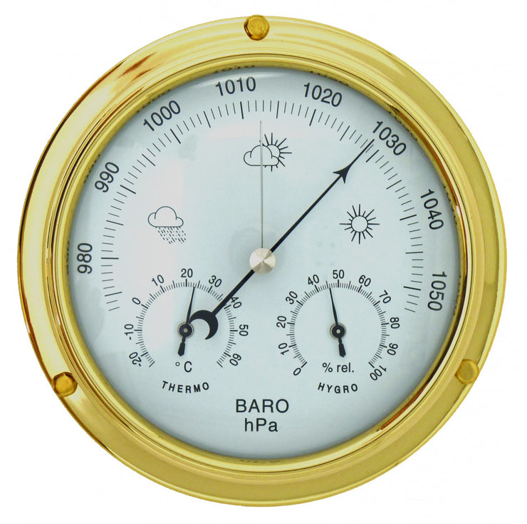 Solid Brass Barometer with Built in  Hygrometer and Thermometer gauges