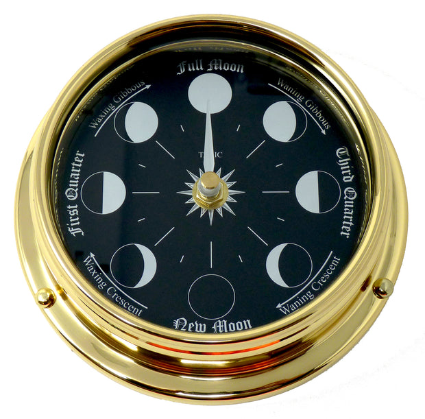 Handmade Prestige Moon Phase Clock in Solid Brass With A Jet Black Dial created with a mirrored backdrop