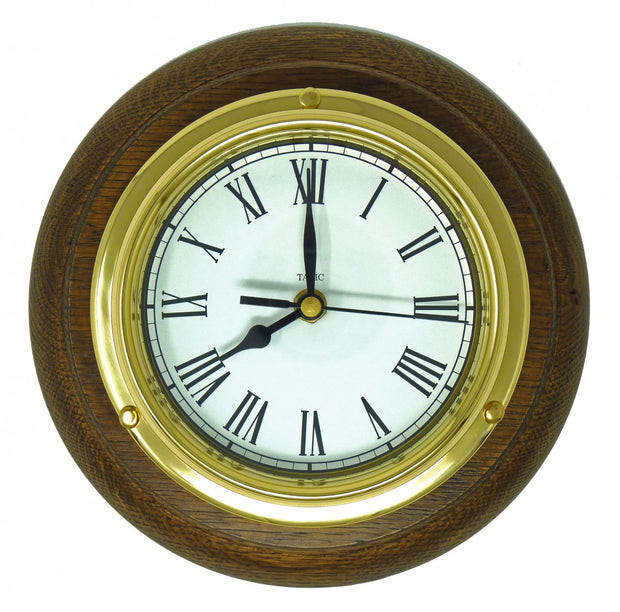 Handmade Solid Brass Roman Clock Mounted on an English Oak Wall Mount
