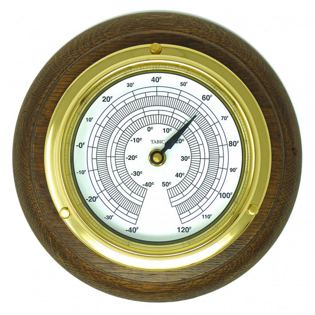 Handmade Solid Brass Thermometer on an English Oak Wall Mount