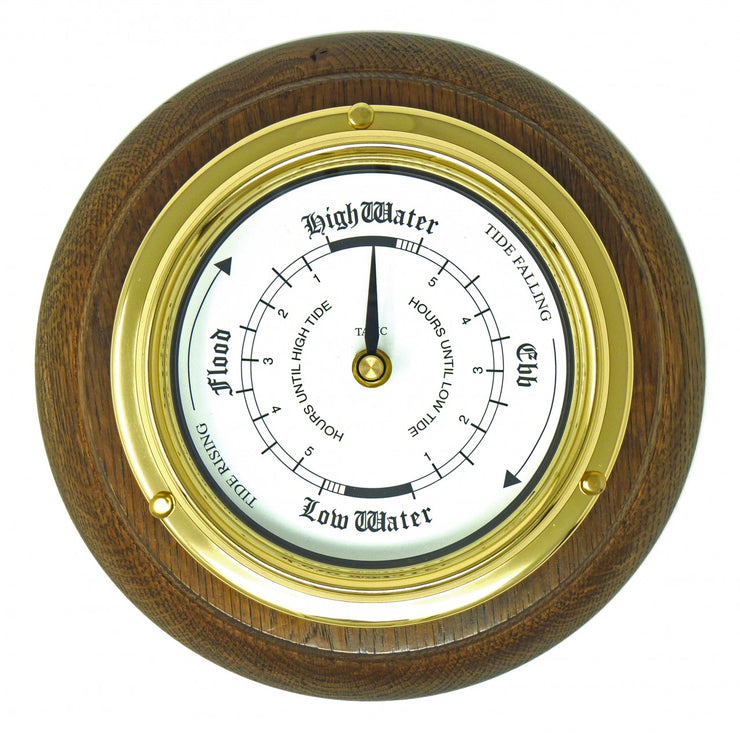 Handmade Solid Brass Tide Clock Mounted on an English Oak Mount