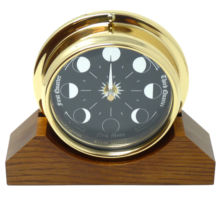 Prestige Brass Moon Phase Clock With a Jet Black Dial Mounted on a Solid English Oak Mantel/Display Mount