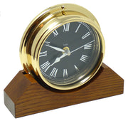 Handmade Solid Brass Roman Clock Mounted on an English Oak Mantel/Display Mount