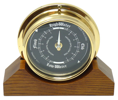 Handmade Prestige Tide Clock in Solid Brass With a Jet Black Dial, mounted on a solid English Oak Mantel/Display Mount
