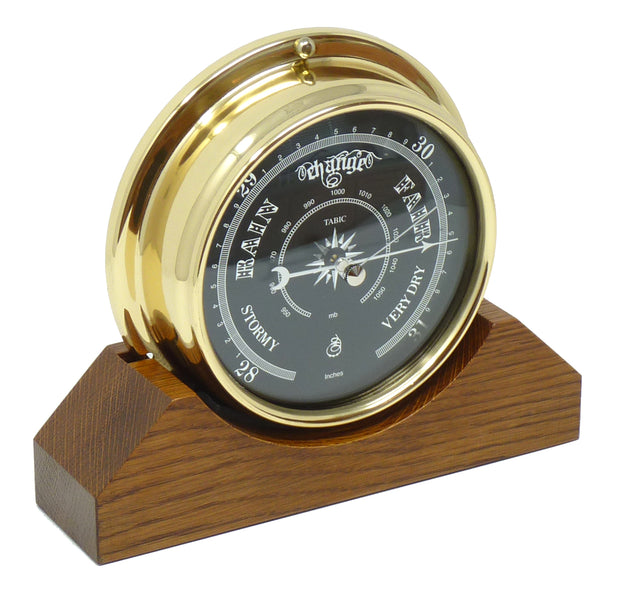 Handmade Prestige Barometer With Jet Black Dial Mounted on an English Dark Oak Mantel/Display Mount