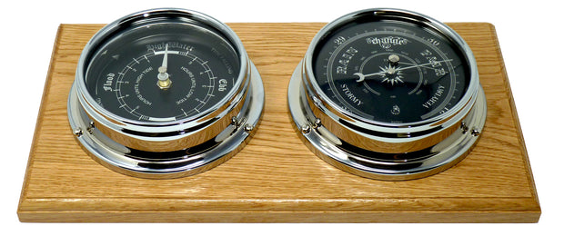 Handmade Prestige Traditional Barometer and Tide Clock in Chrome, Mounted on a Double English Oak Wall Mount