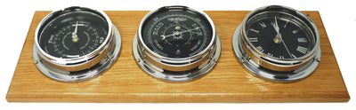 Handmade Prestige Chrome Tide Clock, Traditional Barometer and Roman Clock with Jet Black Dial  Mounted on a Solid English Oak Mount