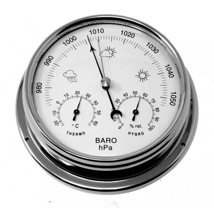 Handmade Barometer with built in Hygrometer and Thermometer in Chrome with white dial