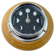 Handmade Prestige Moon Phase Clock in Chrome on an English Oak Wall Mount