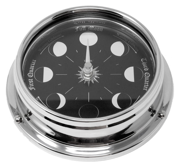 Handmade Prestige Moon Phase Clock in Chrome with Jet Black Dial created with a mirrored backdrop