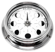 Handmade Moon Phase Clock In Chrome With White Dial