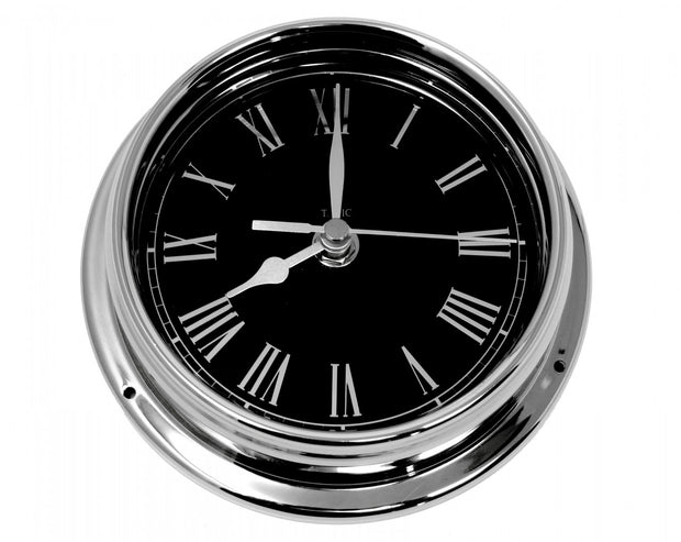 Handmade Prestige Roman Clock in Chrome with Jet Black Dial created with a mirrored backdrop