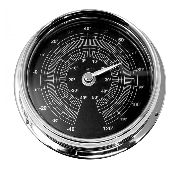 Handmade Prestige Thermometer in Chrome with a Jet Black Dial created with a mirrored backdrop