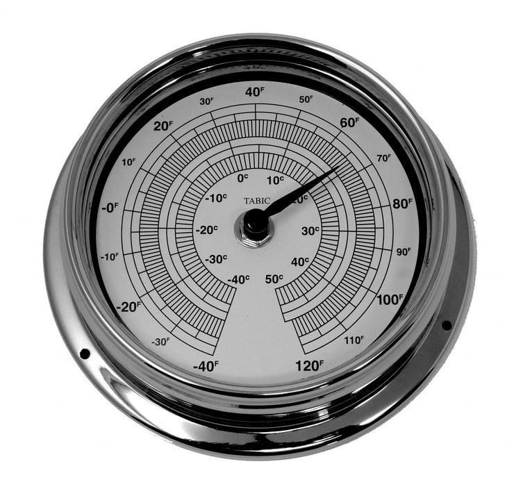 Handmade Thermometer in Chrome With White Dial