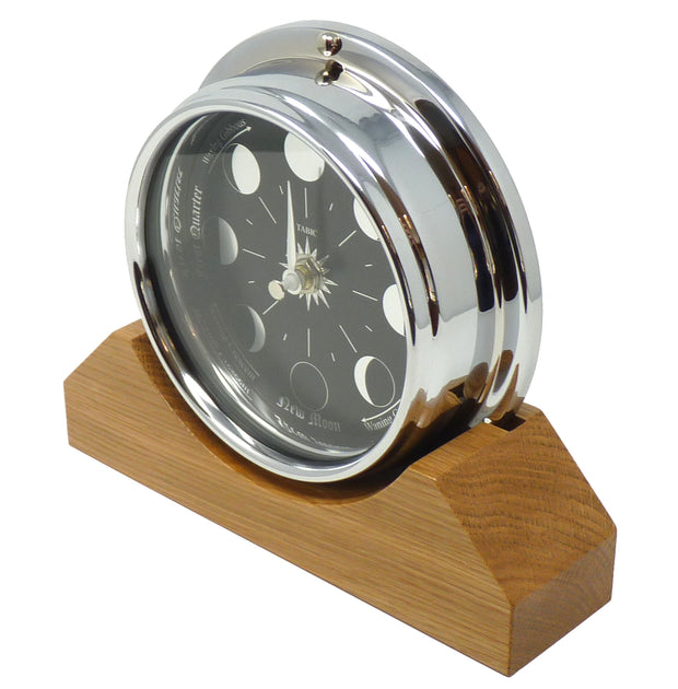 Handmade Prestige Moon Phase Clock in Chrome on an English Oak Mantel/Display Mount