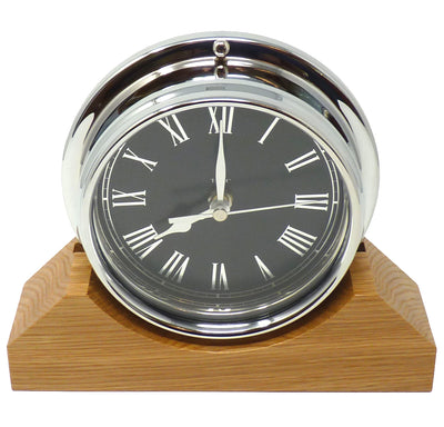Handmade Prestige Roman Clock in Chrome with Jet Black Dial Mounted on an English Oak Mantel/Display Mount