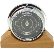 Handmade Prestige Tide Clock in Chrome on an English Oak Mantel/Display Mount