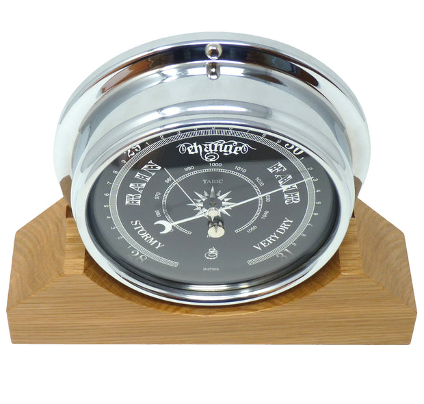 Handmade Prestige Barometer in Chrome with Jet Black Dial Mounted on an English Oak Mantel/Display Mount