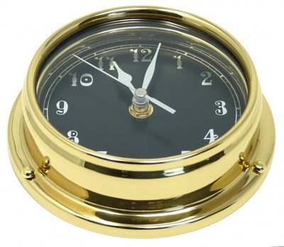 Handmade Prestige Arabic Numeral Clock in Solid Brass with a Jet Black Dial.