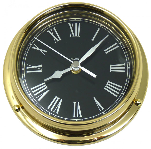 Handmade Prestige Roman Numeral Clock in Solid Brass With a Jet Black Dial.