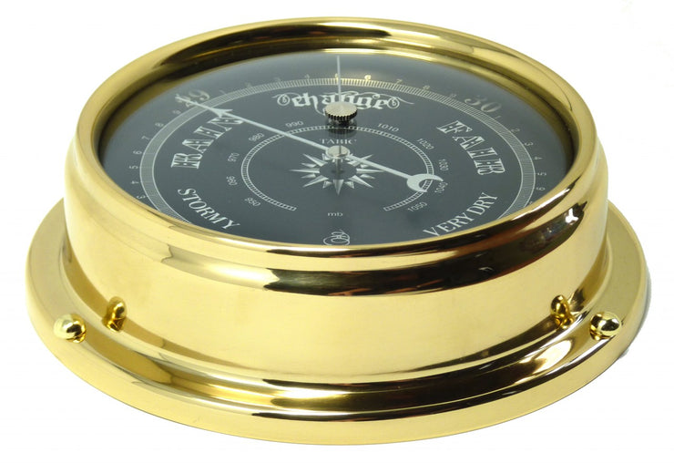 Handmade Prestige Traditional Barometer in Solid Brass With a Jet Black Dial.