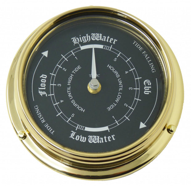 Handmade Prestige Tide Clock in Solid Brass With a Jet Black Dial.