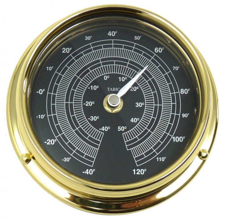 Handmade Prestige Thermometer in Solid Brass with a Jet Black Dial.