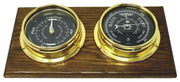 Handmade Prestige Brass Tide Clock, Traditional Barometer  with Jet Black Dial Mounted on a Solid English Oak Wall Mount
