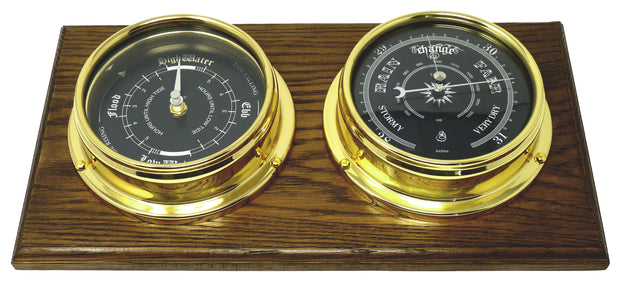 Handmade Prestige Brass Tide Clock, Traditional Barometer  with Jet Black Dial Mounted on a Solid English Oak Mount