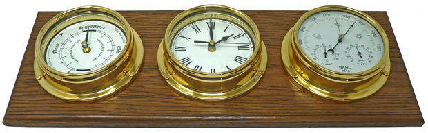 Handmade Brass Tide Clock, Barometer, Roman Clock Mounted on an English Oak Mount