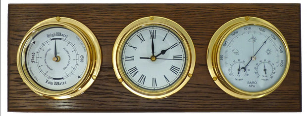 Handmade Brass Tide Clock, Barometer, Roman Clock Mounted on an English Oak Wall Mount
