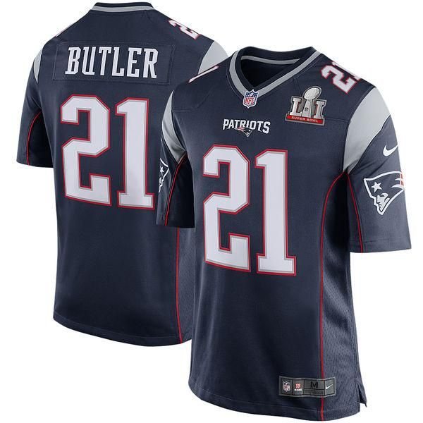 Men's New England Patriots Malcolm Butler Nike Navy Super Bowl LI Bound Game Jersey