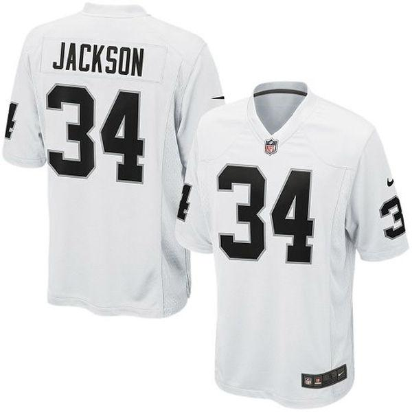 Mens Oakland Raiders Bo Jackson Nike White Retired Player Game Jersey