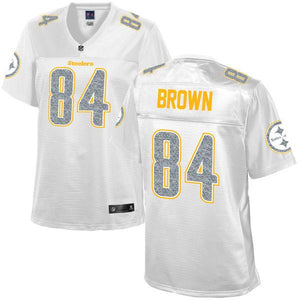 Women's Pittsburgh Steelers Antonio Brown NFL Pro Line White Out Fashion Jersey