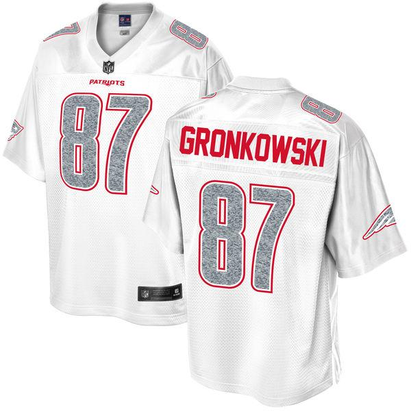 Men's New England Patriots Rob Gronkowski NFL Pro Line White Out Fashion Jersey