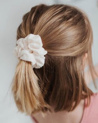 Cream Swiss Dot Scrunchie