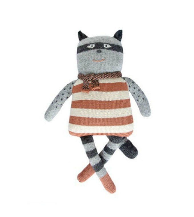 Gasper Racoon | Petits Fournier | Handknit Baby Toy