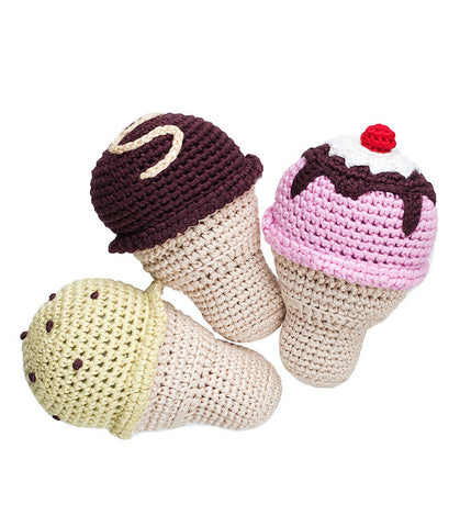 Crochet Ice Cream Rattle | Organic Baby Toys | Cheengoo