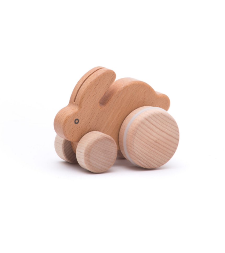 Rolling Rabbit Push Toy - Natural
