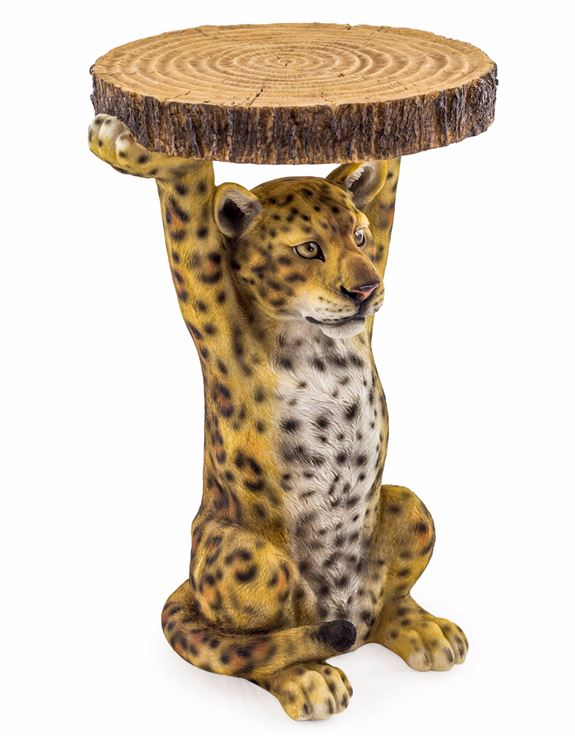 "Loft Collection Leopard Holding ""Trunk Slice"" Side Table"